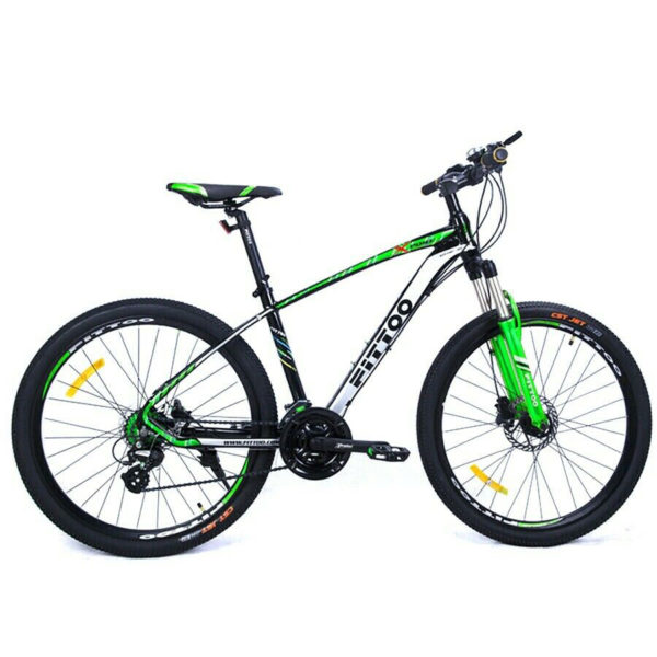 MTB 26 pulgadas Bicicleta Mountain Bike Fittoo Aluminio en negro y verde